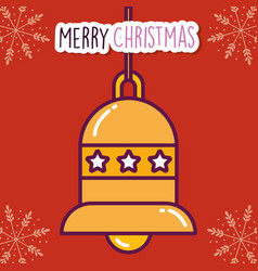merry christmas celebration bell with stars vector image