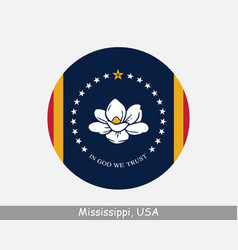 mississippi round circle flag vector image