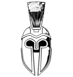 monochrome spartan helmet vector image