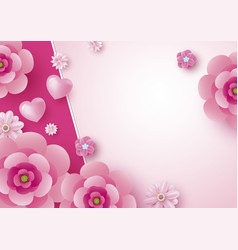 Mothers day card design of flowers and heart vector
