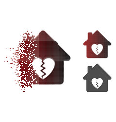 Moving pixel halftone divorce house heart icon vector