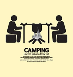 People With Campfire Camping Symbol vector