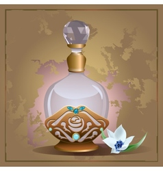Perfume bottle and lily vector image