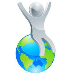 person on top of world concept vector image