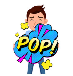 pop art pop bubble man background image vector image
