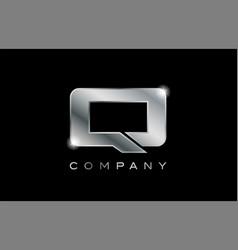 Q silver metal letter company design logo vector