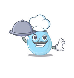 Raindrop chef character serving food on tray vector