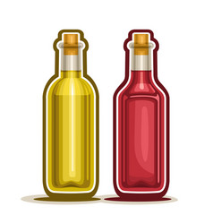 red and yellow wine bottles vector image