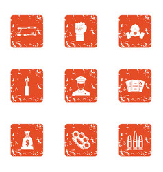 Revolt icons set grunge style vector