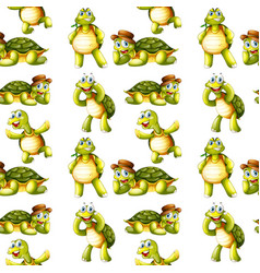Seamless pattern tile cartoon with turtle vector