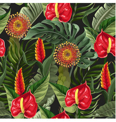 Seamless pattern with anthuriums and tropical vector