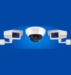Security camera set wall and ceiling mount cctv vector