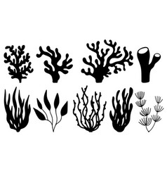 Set corals and seaweeds silhouettes vector