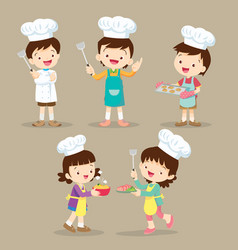 Set of children cooking vector