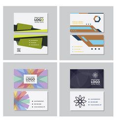 set of modern simple light business card template vector image