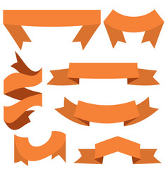 set of seven orange ribbons and banners vector image