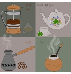 Set of tea and coffee green and herbal tea black vector