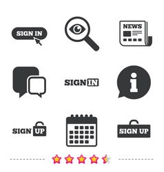 sign in icons login with arrow hand pointer vector image