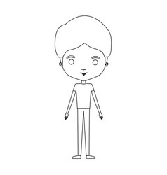 Silhouette caricature thin male in clothes with vector