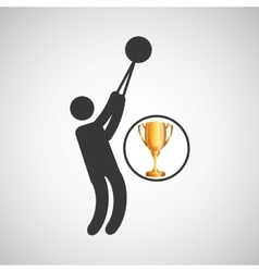 silhouette man hammer throw athlete trophy vector image