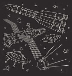 Silhouette spaceship rocket satellite and vector