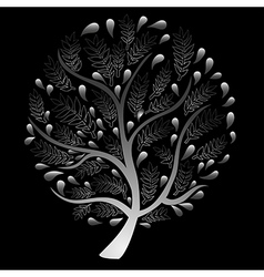 Silver Tree isolated on Black Background vector image