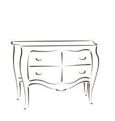 Sketched chest of drawers vector image