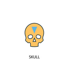 skull concept 2 colored line icon simple yellow vector image