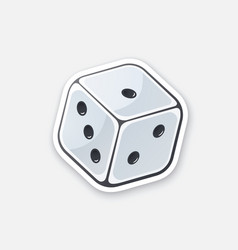 sticker one white dice with contour vector image
