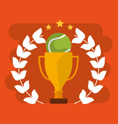 tennis trophy and ball sport award win vector image