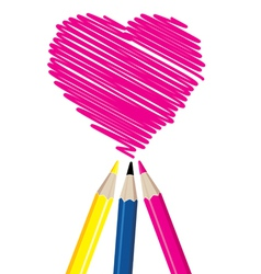 Three pencils drawing heart shape vector image