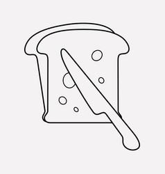 toast bread icon line element vector image