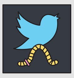 Unusual look tweet bird logotwitter icon vector