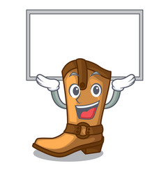 Up board cowboy boots in the shape cartoon vector