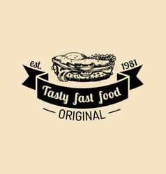 Vintage fast food logo hipster natural vector