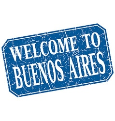 Welcome to Buenos Aires blue square grunge stamp vector