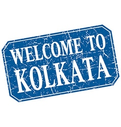 Welcome to Kolkata blue square grunge stamp vector