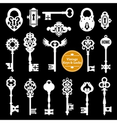 White Keys And Locks Set vector image
