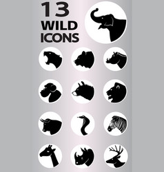 wild icons collection vector image