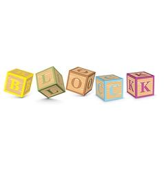 Word BLOCK written with alphabet blocks vector