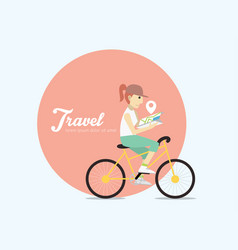 young woman riding on bicycle with map vector image