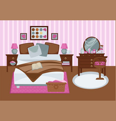 bedroom for girl in pink colors flat vector image vector image