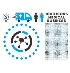 Connections Diagram Icon with 1000 Medical vector image