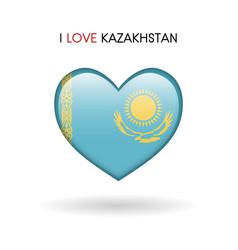 love kazakhstan symbol flag heart glossy icon on vector image