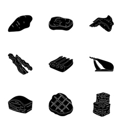 Meats set icons in black style big collection of vector