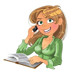 Blond woman with phone and book vector