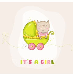 Cute Baby Girl Cat in a Carriage - Baby Shower vector image vector image