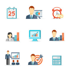 Set of colorful business icons vector image vector image
