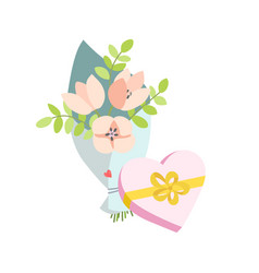 spring bouquet of flowers and a gift in the form vector image vector image