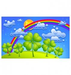 clovers under rainbow vector image vector image